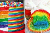 Радужный торт и кексы/ Rainbow Cake / Cupcakes