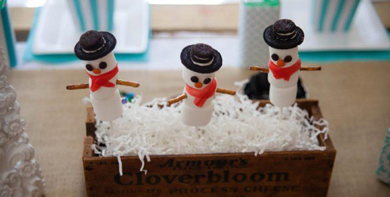 Снеговик из зефира