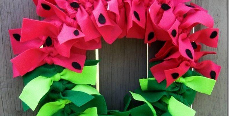 МК: декоративный венок «Арбуз»