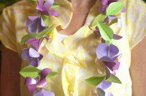 МК: гавайские бусы из бумажных цветов